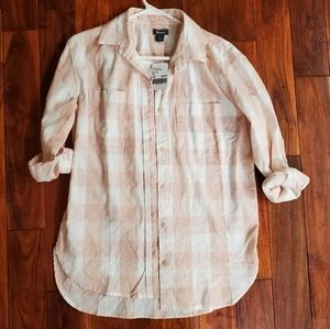 Roots button-up pink& white plaid top size XS NWT